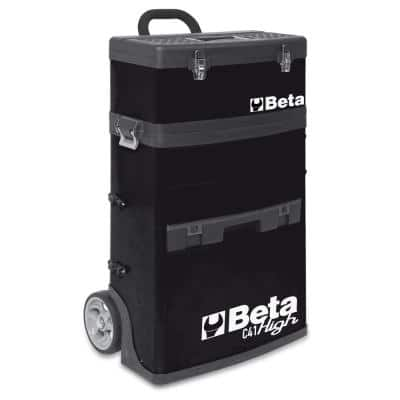21 in. Mobile Tool Utility Cart with 3 Slide-Out Drawers and Removable Top Box with Carry Handle in Black