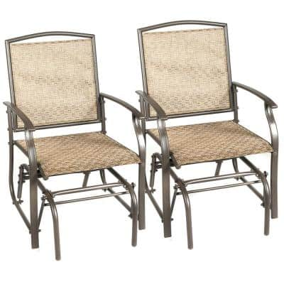 2-Person Brown Metal Outdoor Glider Swing Single Rocking Chair (Set of 2)