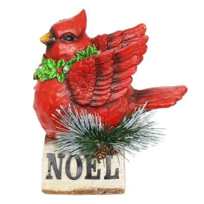 LED Cardinal on Noel Sign with Timer Garden Statue