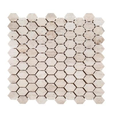 Travertine Constellation Beige 10.875 in. x 11.75 in. Hexagon Honed Travertine Wall and Floor Mosaic Tile