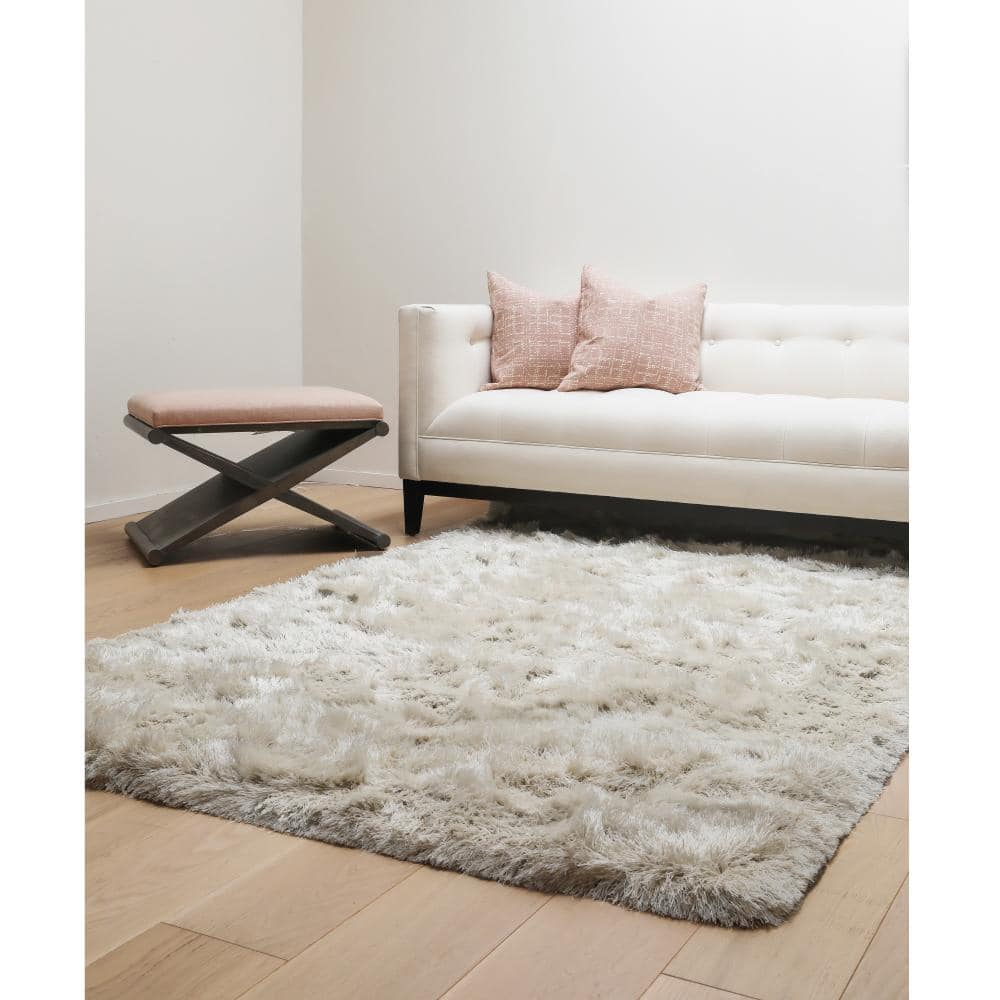 Luxe Shag Ivory 8 ft. x 10 ft. Area Rug-8501-8x10 - The Home Depot