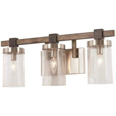 Bridlewood 3-Light Stone Grey with Brushed Nickel Bath Light with Clear Seedy Glass