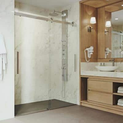 Caspian 59 to 61 in. x 73.5 in. Frameless Sliding Shower Door in Chrome with Clear Glass and Handle