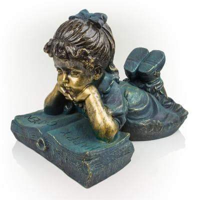 16 in. Tall Indoor/Outdoor Girl Laying Down Reading Book Statue Set Yard Art Decoration