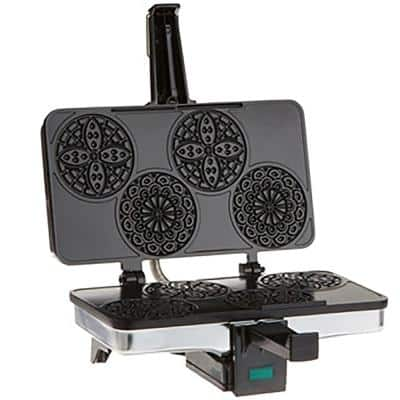 Piccolo 4-Slice Stainless Steel Pizzelle Waffle Maker