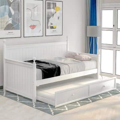 White Wood Twin Size Daybed with Trundle