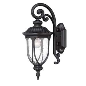 Laurens Collection 1-Light Matte Black Outdoor Wall Lantern Sconce