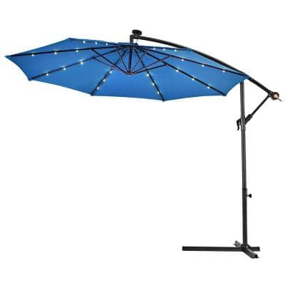 10 ft. Steel Cantilever Solar Tilt Patio Umbrella with LED Lights and Cross Base in Blue