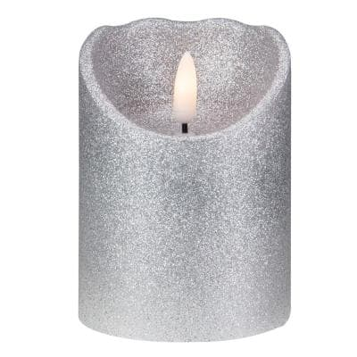 4 in. Silver Glitter Flameless Battery Operated Christmas Decor Candle