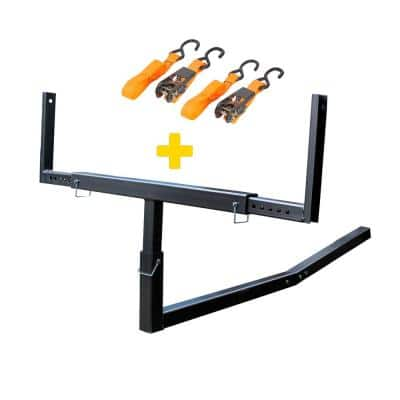 Heavy-Duty Steel Pick Up Truck Bed Extender with Ratchet Straps in Black