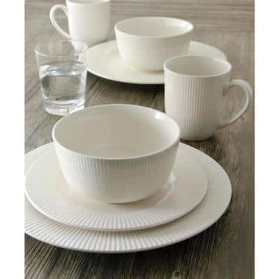 16-Piece Casual Off White Ceramic Dinnerware Set (Service for 4)