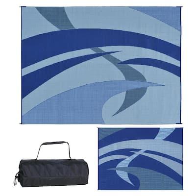 9 ft. x 12 ft. Reversible Mat - Swirl Blue/Gray/Black/White