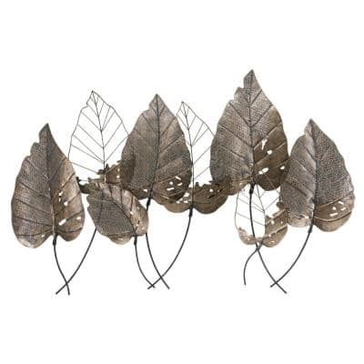 Bronze Tropical Leaves Metal Mixed Media Wall Art
