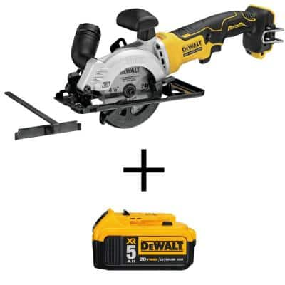 ATOMIC 20-Volt MAX Cordless Brushless 4-1/2 in. Circular Saw with (1) 20-Volt Battery 5.0Ah