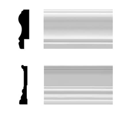 8 lin. ft. White Vinyl Wainscot Interior/Exterior Chair Rail and Base Kit