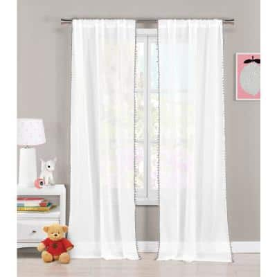 Grey Solid Rod Pocket Room Darkening Curtain - 38 in. W x 84 in. L (Set of 2)