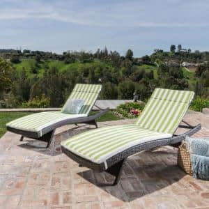 Miller 27.50 in. x 31 in. Green and White Stripe Outdoor Chaise Lounge Cushion (2-Pack)