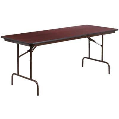 72 in. Mahogany Wood Table top Material Folding Banquet Tables