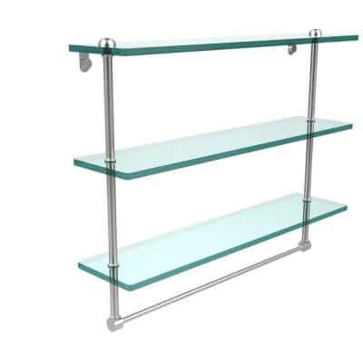 22 in. Triple Tiered Glass Shelf with Integrated Towel Bar in Satin Chrome
