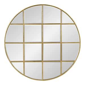 Medium Round Gold Beveled Glass Art Deco Mirror (30 in. H x 30 in. W)