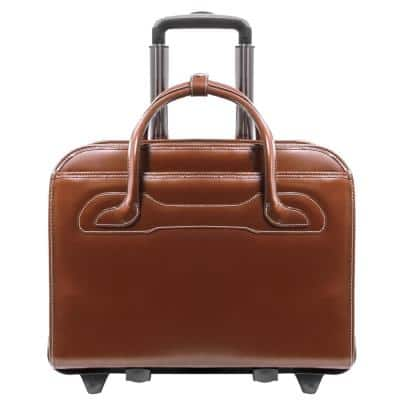 Mcklein Willowbrook 15 in. Brown Top Grain Cowhide Leather Patented Detachable Wheeled Ladies Laptop Briefcase