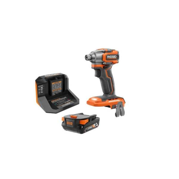 RIDGID 18-Volt Lithium-Ion Brushless Cordless SubCompact Impact Driver Kit with (1) 2.0 Ah Battery, Charger, and Bag   The Home Depot