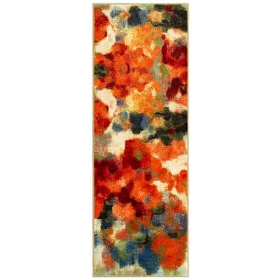 Colorful Garden 2 ft. x 5 ft. Machine Washable Floral Contemporary Runner Rug