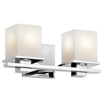 Tully 5 in. 2-Light Chrome Vanity Light with Etched Glass Shade
