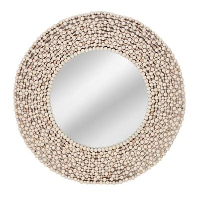 Medium Round White Casual Mirror (36 in. H x 36 in. W)