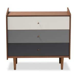 Halden 3-Drawer Walnut Brown and Grey Chest of Drawers 34.6 in. H x 35.4 in. W 17.3 in. D