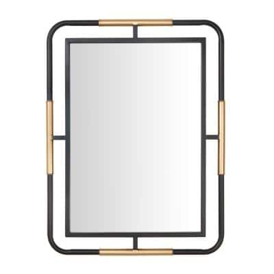 Medium Rectangle Black & Gold Modern Accent Mirror (32 in. H x 24 in. W)