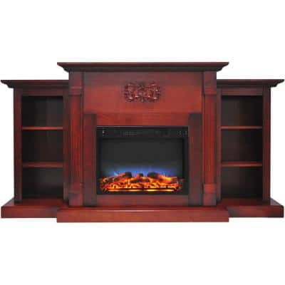 Classic 72 in. Electric Fireplace in Cherry with Bookshelves and a Multi-Color LED Flame Display