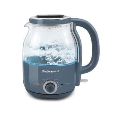 1.2L Adjustable Temperature Electric Glass Kettle (Slate Blue) 5 cups