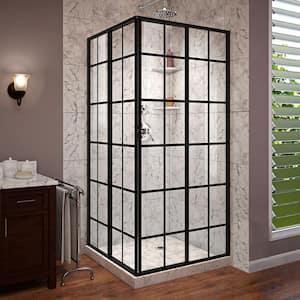 French Corner 34-1/2 in. x 34-1/2 in. x 72 in. Framed Corner Sliding Shower Enclosure in Satin Black