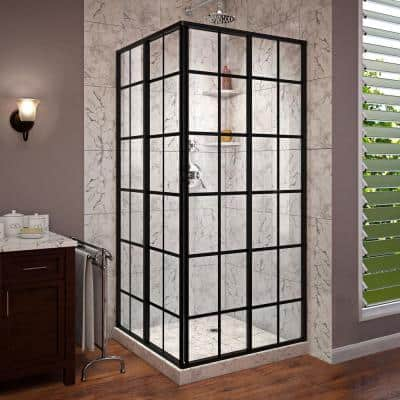 French Corner 34-1/2 in. x 34-1/2 in. x 72 in. Framed Corner Sliding Shower Enclosure in Satin Black