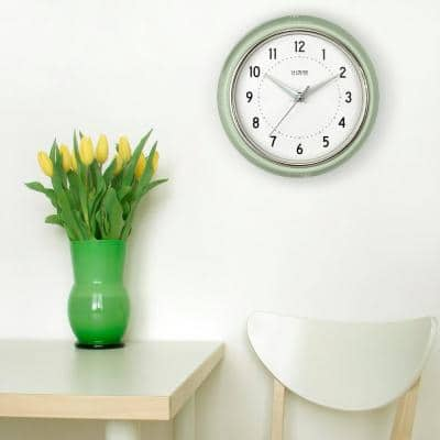 9.5 in. Pistachio Green Retro Diner Quartz Analog Wall Clock