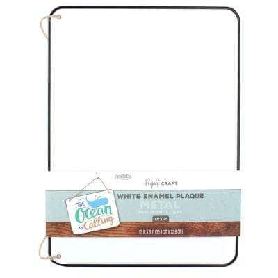 Project Craft Hanging White Enamel Blank Metal Plaque with Dark Metal Edge, 12 in. x 9 in.
