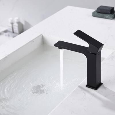Single-Handle Bathroom Faucet Vessel Sink Faucet with Pop-Up Drain in Matte Black