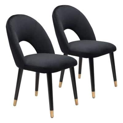 Miami Black, Black & Gold Polyester Dining Side Chair Set of 2