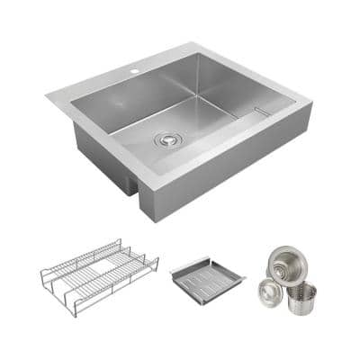 Dart Canyon Stainless Steel 30 in. Single Bowl Farmhouse Apron Kitchen Sink with Workstation ADA