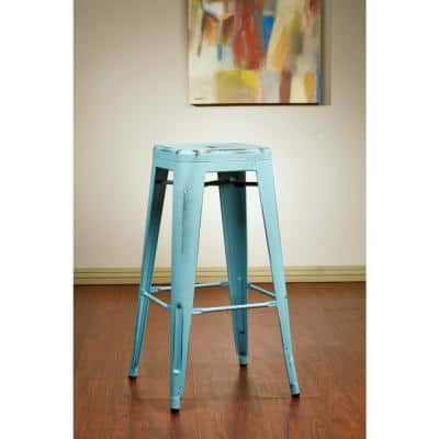 Bristow 30.25 in. Antique Sky Blue Bar Stool (Set of 4)