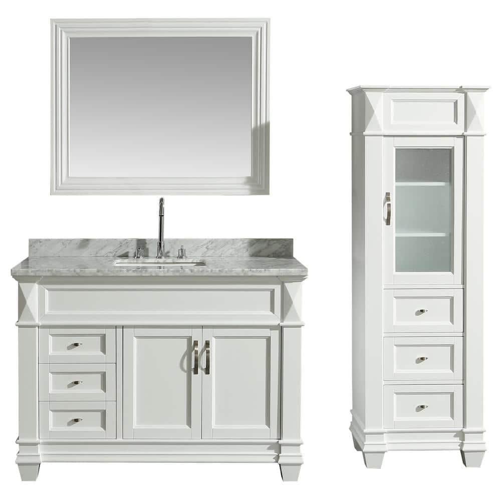 Design Element 48 In W X 22 In D Bath Vanity In White With Marble Vanity Top In White With White Basin Mirror And Linen Cabinet Dec059b W Wt Cab059 W The Home Depot