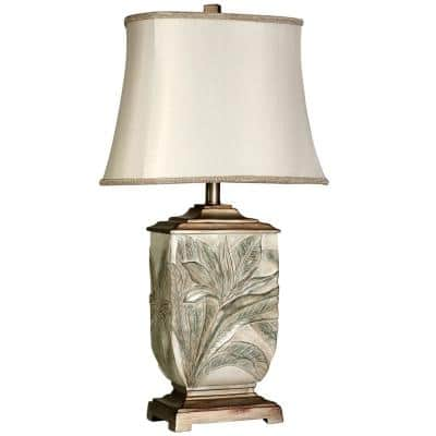 27.5 in. White Embossed Foliage Table Lamp with Ivory Fabric Shade