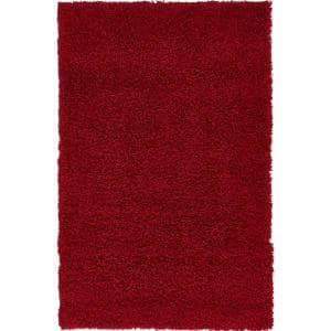 Solid Shag Cherry Red 3 ft. x 5 ft. Area Rug