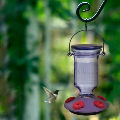 Lavender Field Top-Fill Decorative Glass Hummingbird Feeder - 16 oz. Capacity