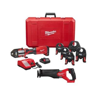 M18 18-Volt Lithium-Ion Brushless Cordless 1/2 in. - 2 in. Press Tool Kit With M18 Reciprocating Saw (6-Jaws Included)