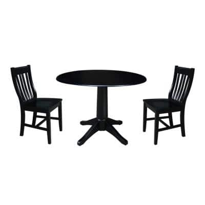 Olivia 3-Piece 42 in. Black Round Drop-Leaf Wood Dining Set with Cafe Chairs
