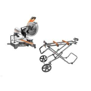 12 in. Sliding Miter Saw and Universal Mobile Miter Saw Stand with Mounting Braces