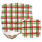 Tartan Twist 9-Piece Traditional Red/White/Green Melamine Outdoor Dinnerware Set (Service for 9)