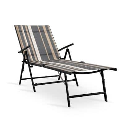 Striped 1-Piece Textilene Metal Outdoor Chaise Lounge